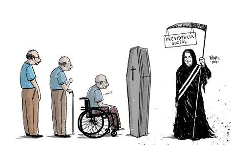 Desenho de Vitor Teixeira sobre reforma da previdência