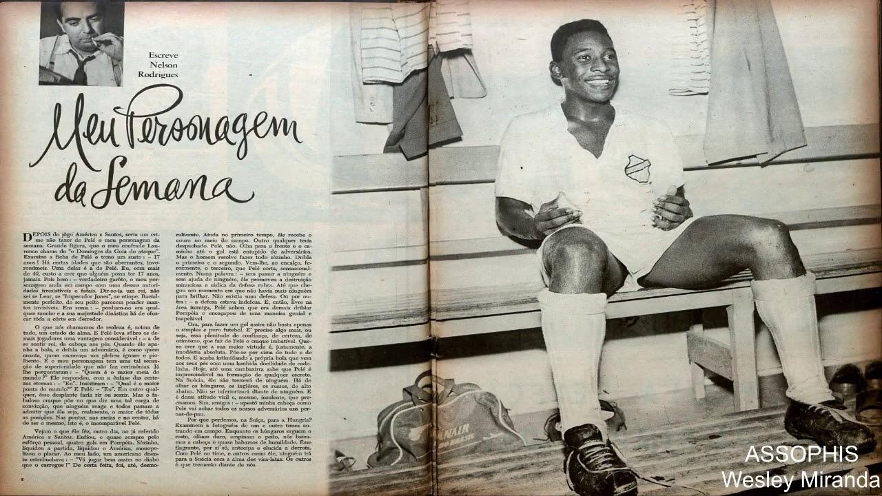 Jornal com texto de Nelson Rodrigues e foto de Pelé