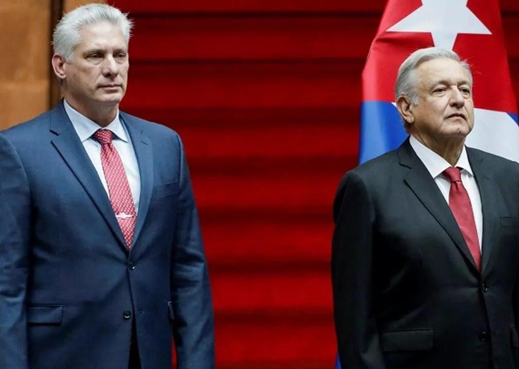 Presidente de Cuba, Miguel Díaz-Canel, e o presidente do México, Andres Manuel Lopez Obrador